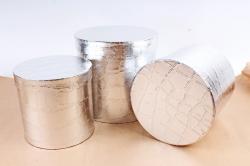 Набор подарочных коробок из 3шт - Цилиндр крокодиловая кожа серебро  К101