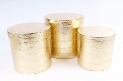 Набор подарочных коробок из 3шт - Цилиндр крокодиловая кожа золото     К99