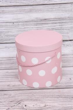 """Набор подарочных коробок из 3шт - Цилиндр """"Крупный горох"""" L.18.3x17.2cm  цв.розовый 0157Н"""