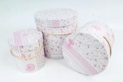 """Набор подарочных коробок из 3шт - Цилиндр """"MIX""""   розовый  0131 (Н)"""