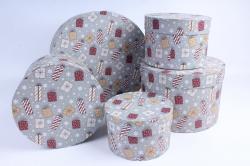 Набор подарочных коробок из 5шт - Цилиндр НГ Подарки Серые d=30, h=17см  Пин85НГ-1