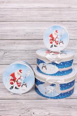 Набор подарочных коробок из 4шт - Цилиндр НГ Санта и пингвин d=22, h=11см  N125