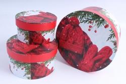 Набор подарочных коробок из 3шт - Цилиндр НГ Шапка, Варежки красные  SY2247-1607NG