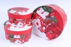 Набор подарочных коробок из 3шт - Цилиндр НГ Шары на красном   SY2247-1621NG