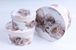 Набор подарочных коробок из 3шт - Цилиндр НГ Звезда, Ёлка на белом  SY2247-1619NG