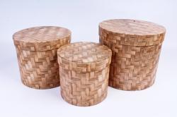 Набор подарочных коробок из 3шт - Цилиндр плетенка