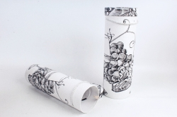Набор подарочных коробок из 2шт - Цилиндр под бутылку Черно/белый виноград К190