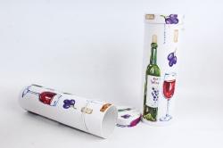 Набор подарочных коробок из 2шт - Цилиндр под бутылку С  бутылкой с красным вином К190
