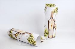 Набор подарочных коробок из 2шт - Цилиндр под бутылку С  бутылкой салатово/бежевой К190