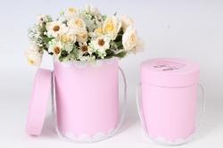 Набор подарочных коробок (из 2шт) - Цилиндр Пуанты розовые  d=14, h=18см К797