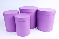 Набор подарочных коробок из 4шт - Цилиндр Пурпурный Холст Пин84КПХ