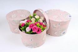 Набор подарочных коробок из 3шт - Цилиндр роза на розовом К849
