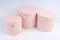 Набор подарочных коробок из 3шт - Цилиндр розовый В75