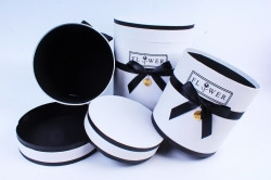 Набор подарочных коробок из 3шт - Цилиндр с лентой белый  Т96