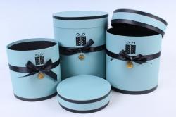 Набор подарочных коробок из 3шт - Цилиндр с лентой бирюза  Т96