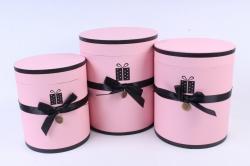 Набор подарочных коробок из 3шт - Цилиндр с лентой розовый  Т96