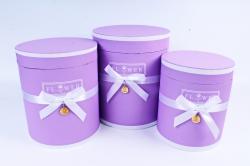 Набор подарочных коробок из 3шт - Цилиндр с лентой сирень    Т96