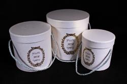 Набор подарочных коробок из 3шт - Цилиндр с медальоном белый D=17, H=17см