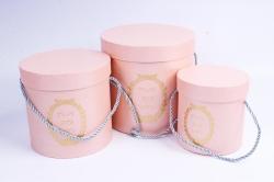 Набор подарочных коробок из 3шт - Цилиндр с медальоном розовый D=17, H=17см