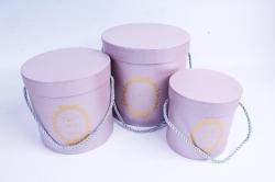 Набор подарочных коробок из 3шт - Цилиндр с медальоном сирень D=17, H=17см