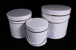 Набор подарочных коробок из 3шт - Цилиндр с золотым кантом белый