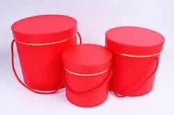 Набор подарочных коробок из 3шт - Цилиндр с золотым кантом красный
