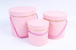 Набор подарочных коробок из 3шт - Цилиндр с золотым кантом розовый