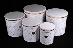 Набор подарочных коробок из 5шт - Цилиндр Сердечки белый   М011