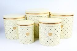 Набор подарочных коробок из 5шт - Цилиндр Сердечки лимонный    М011