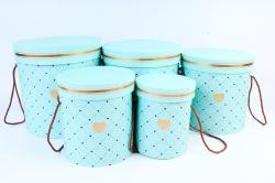 Набор подарочных коробок из 5шт - Цилиндр Сердечки мятный   М011