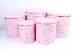 Набор подарочных коробок из 5шт - Цилиндр Сердечки розовый    М011