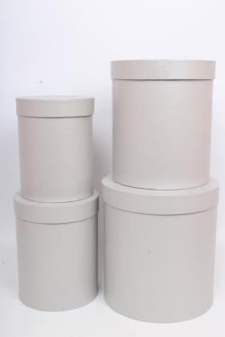Набор подарочных коробок из 4шт - Цилиндр Серебро d=23,h=25см  Пин84С