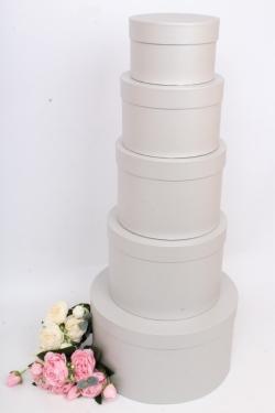 Набор подарочных коробок из 5шт - Цилиндр Серебряный Перламутр 30*17 см  Пин85СП