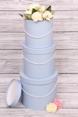 Набор подарочных коробок из 3шт - Цилиндр серо/голубой d=22/ h=20см В75