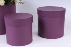 Набор подарочных коробок из 3шт - Цилиндр Вино №150   20*20см  Пин150ВН