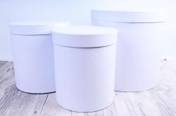 Набор подарочных коробок из 3шт - Цилиндр высокий Белый Жемчуг Пин12БЖ
