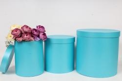 Набор подарочных коробок из 3шт - Цилиндр высокий Голубой перламутр 30*30*30см Пин12ГП