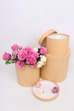 Набор подарочных коробок из 3шт - Цилиндр высокий Карамель 30*30*30см Пин12КР