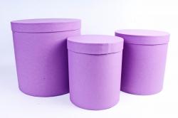 Набор подарочных коробок из 3шт - Цилиндр высокий Пурпурный Холст Пин12ПХ