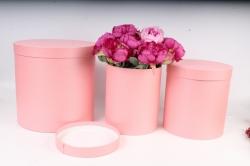Набор подарочных коробок из 3шт - Цилиндр высокий Розовый перл.