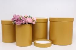 Набор подарочных коробок из 4шт - Цилиндр Золото d=23,h=25см  Пин84З