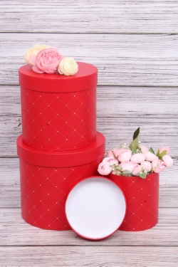 Набор подарочных коробок из 3шт - Цилиндр золотой ромбик красный d=18,h=16см В427
