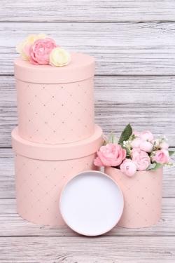 Набор подарочных коробок из 3шт - Цилиндр золотой ромбик розовый d=18,h=16см В427