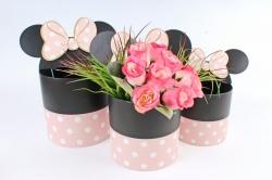 Набор подарочных коробок из 3шт - Цилиндр  Микки Маус черно-розовый в горох