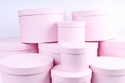 Набор подарочных коробок из 10шт - КРУГ большой  розовый   К310