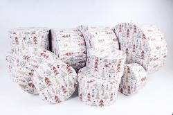 Набор подарочных коробок из 10шт - Круг НГ Елки на белом N38