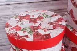Набор подарочных коробок из 10шт - КРУГ Новый Год  Домики заснеженные 35*35*18см  N137
