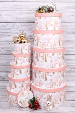 Набор подарочных коробок из 10шт - КРУГ Новый Год  Перламутровые шарики 35*35*18см  N141