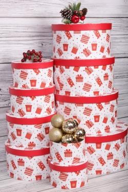 Набор подарочных коробок из 10шт - КРУГ Новый Год  Подарки красные  35*35*18см  N596