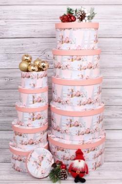 Набор подарочных коробок из 10шт - КРУГ Новый Год  Серебряная ёлка 35*35*18см  N140